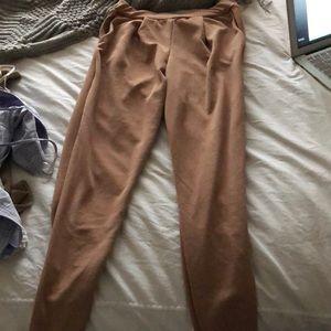 Pleated tan pants